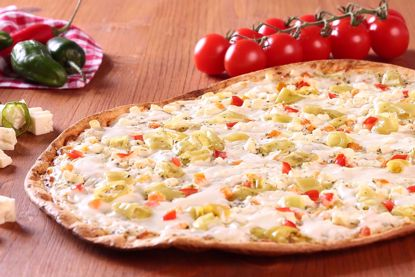 Flammkuchen Traditionell, Käse, Tomate & Peperoni, oval
